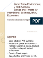 3. International Trade Environment, Country Risk Analysis, Opportunities and Threats for International Business, BRIC Economies