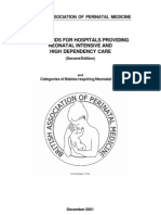 Standard for Hospital Providing Neonatal Intensibe Care and High Dependency Care