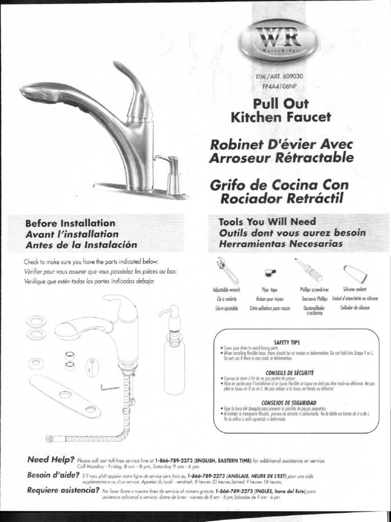 Kitchen Faucet Installation Instructions Fp4a4106np Kitchen Faucet Parts List Water Ridge