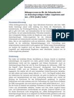 """Frei zugängliche Bildungsressourcen für die Sekundarstufe - eine Analyse von deutschsprachigen Online-Angeboten und der Entwurf eines """"OER-Quality-Index"""""""