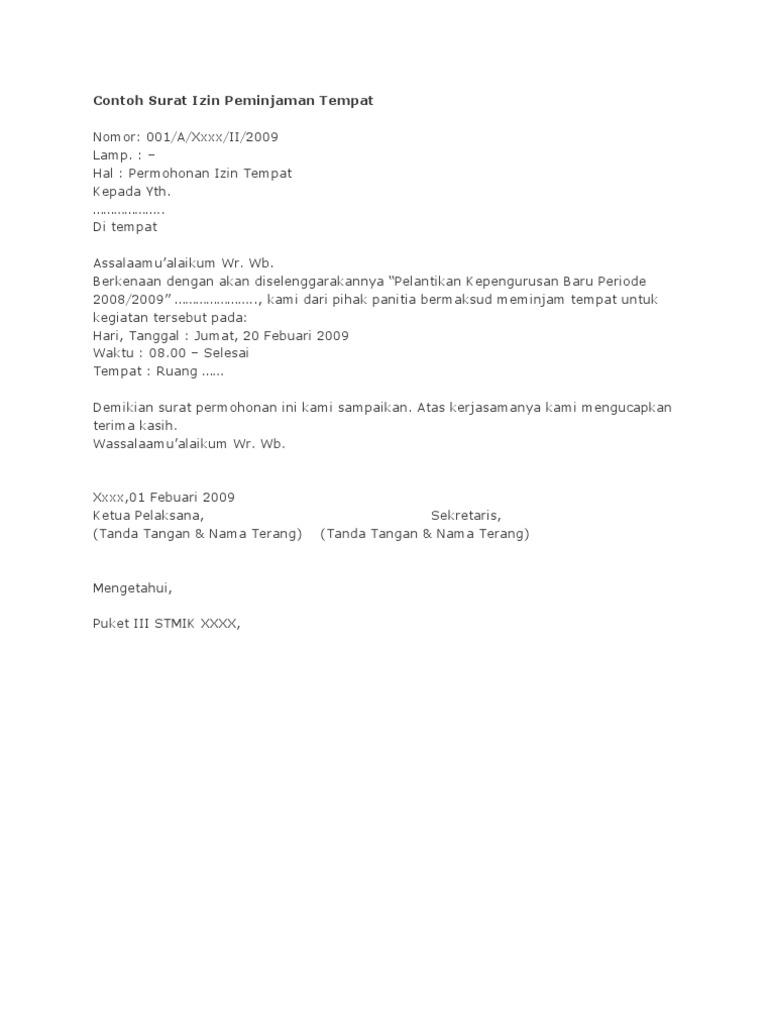 Contoh Surat Izin Peminjaman Tempat