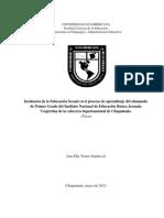 1439 Incidencia de La Educacion Sexual en El Proceso de Aprendizaje Del Alumnado de Primer Grado Del