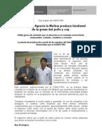 Universidad Agraria la Molina produce biodiesel de la grasa del pollo y cuy