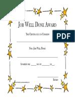 Job Well Done Award Stars Frame