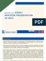 Bank of Kigali Investor Presentation 1H2012