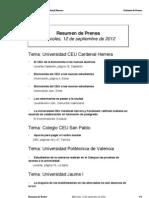 Resumen Prensa, 12 de septiembre de 2012