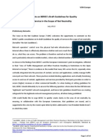 VON Europe - Comments on BEREC's Draft Guidelines for Quality of Service in the Scope of Net Neutrality