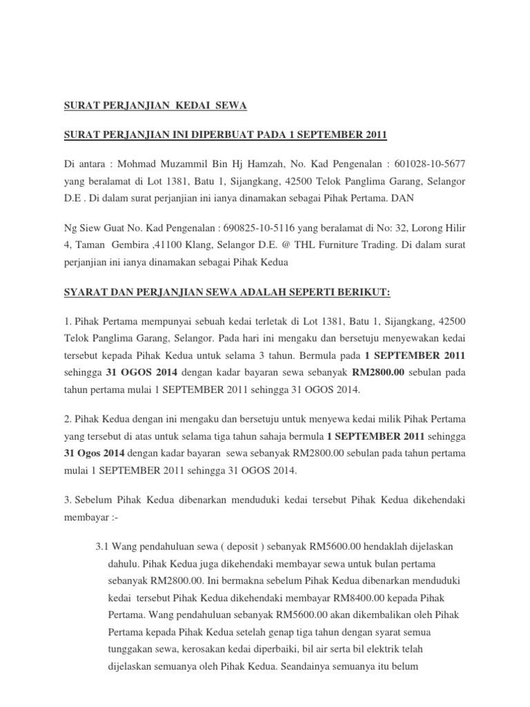 Contoh Surat Penamatan Kontrak Sewa Rumah Situs Properti Indonesia