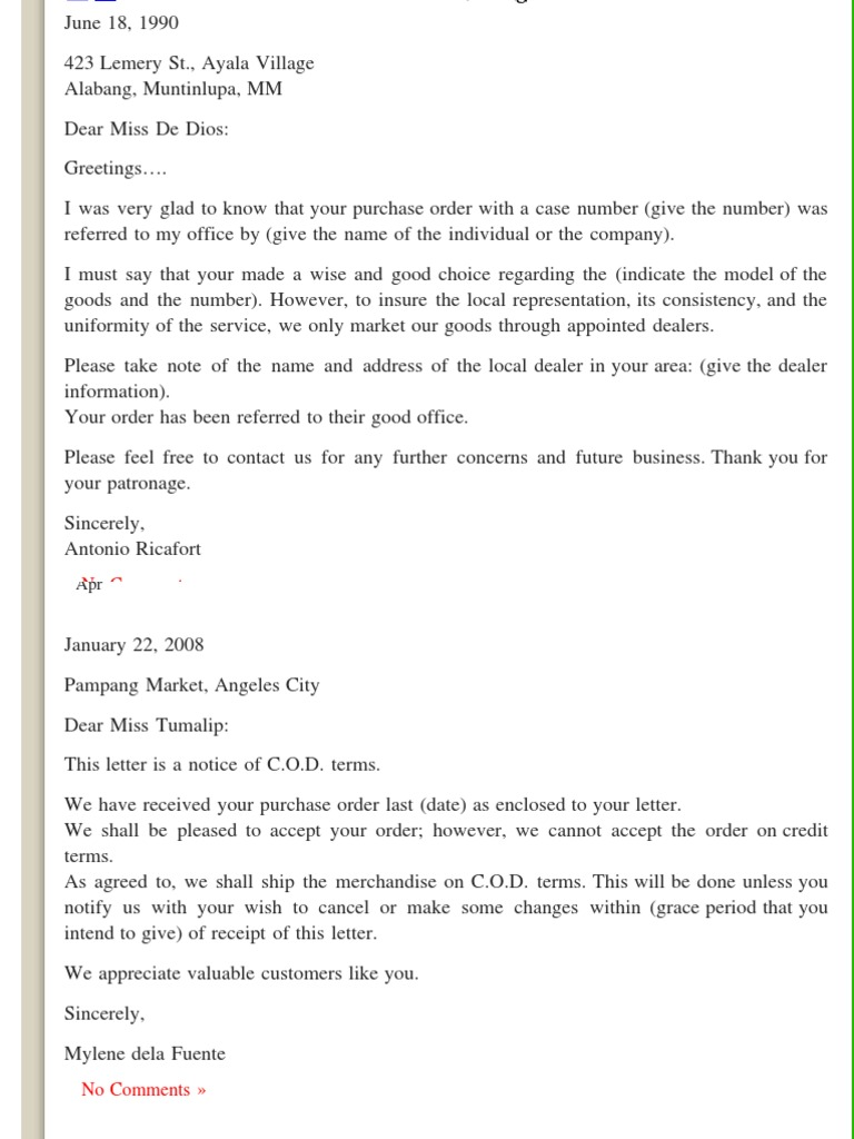 Order letters business letter samples business business general thecheapjerseys Image collections