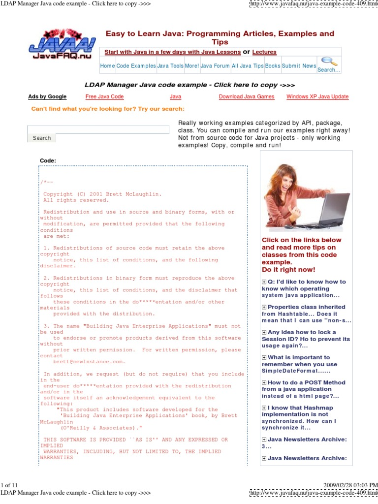 LDAP Manager Java Code Exam      Source Code   Java