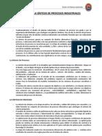 [DPI] ESTADO DE LA SÍNTESIS DE PROCESOS INDUSTRIALES
