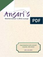 Ansaris Grill Menu