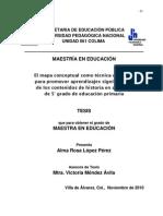 EL MAPA CONCEPTUAL COMO TECNICA COGNITIVA PARA PROMOVER APRENDIZAJES SIGNIFICATIVOS EN ALUMNOS DE 5o GRADO DE EDUCACIÓN P~1