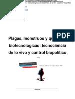 paul alsina plaga mosntruos y quimeras biotecnológicas, tecnociencia y biopolitica