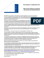The Young Academy of Scotland. RSE Young Academy of Scotland announces new membership call. 12 September 2012