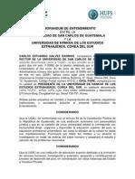 MEMORANDUM DE ENTENDIMIENTO ENTRE LA USAC Y LA UNIVERSIDAD DE HANKUK DE LOS ESTUDIOS EXTRANJEROS, COREA DEL SUR