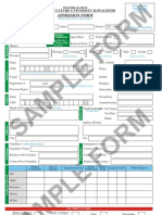 Sample Admission Form