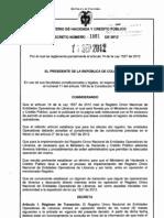 Decreto 1881 Del 11 de Septiembre de 2012 El  Registro  Único  Nacional  de  Entidades  Operadoras  de  Libranza http://www.icedaabogadosyasesores.com