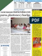Amenazan burocratas con Paros, Plantones y Huelgas