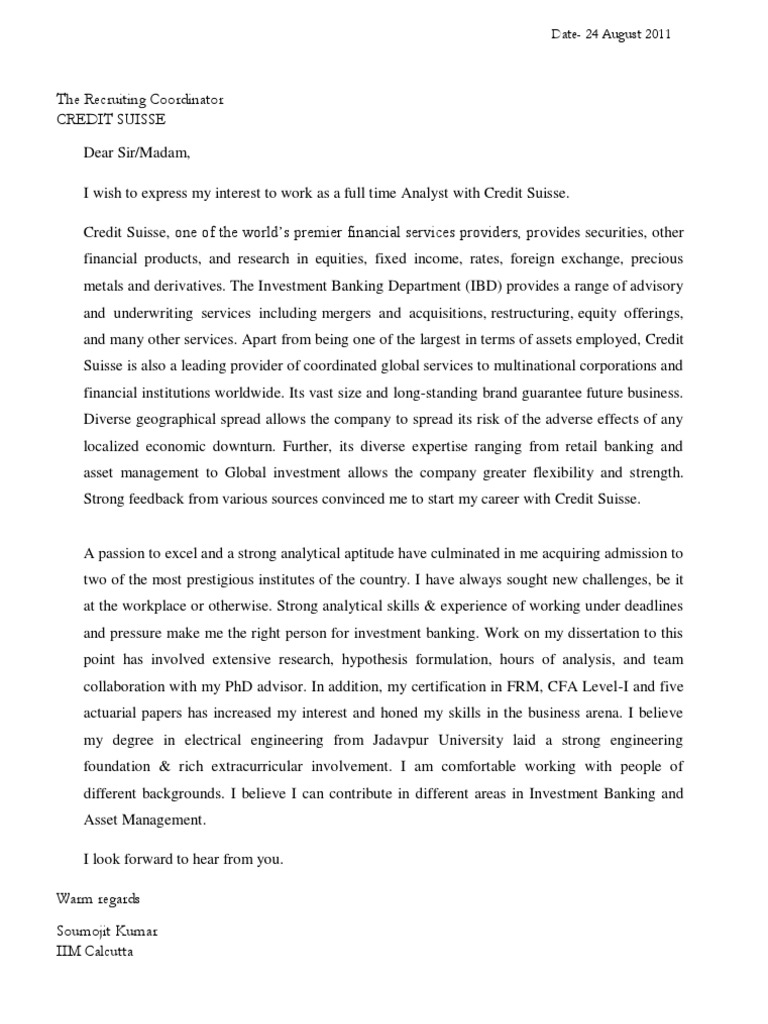 Credit Suisse Cover Letter - Asset management analyst cover letter