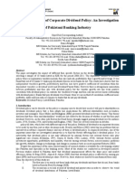 The Determinants of Corporate Dividend Policy_ an Investigation of Pakistani Banking Industry