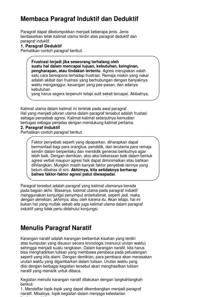 Membaca Paragraf Induktif Dan Deduktif