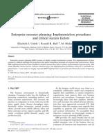Enterprise Resource Planning - Implementation Procedures and Critical Success Factors