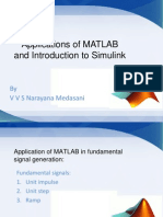 Applications of MATLAB and Introduction to Simulink