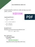 Persamaan Diferensial Orde Satu
