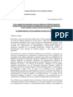 Relator Especial Comunicado de Prensa Bolivia-Mission-10.09.2012 Spanish-FINAL