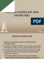 Analisa Kadar Air Dan Kadar Abu