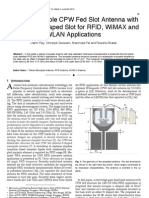 Planar Monopole CPW Fed Slot Antenna with  Modified H-Shaped Slot for RFID, WiMAX and WLAN Applications