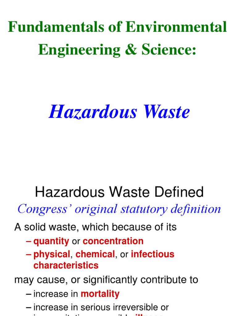 lec # 39 hazardous waste | hazardous waste | incineration