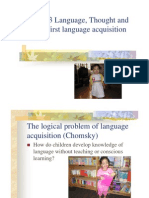 Language Thought and Culture---First Language Acquisition