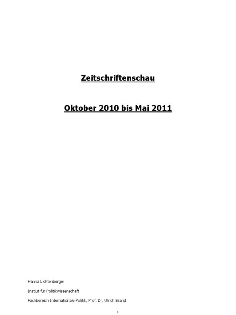 Zeitschriftenschau Oktober2010bisMrz 2011 Final   Politics ...