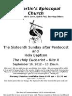 St. Martin's Episcopal Church Worship Bulletin - Sept. 16 - 10:15 a.m.