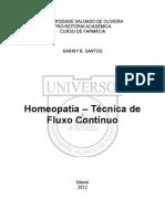 Homeopatia - Técnica de Fluxo Contínuo Aluna