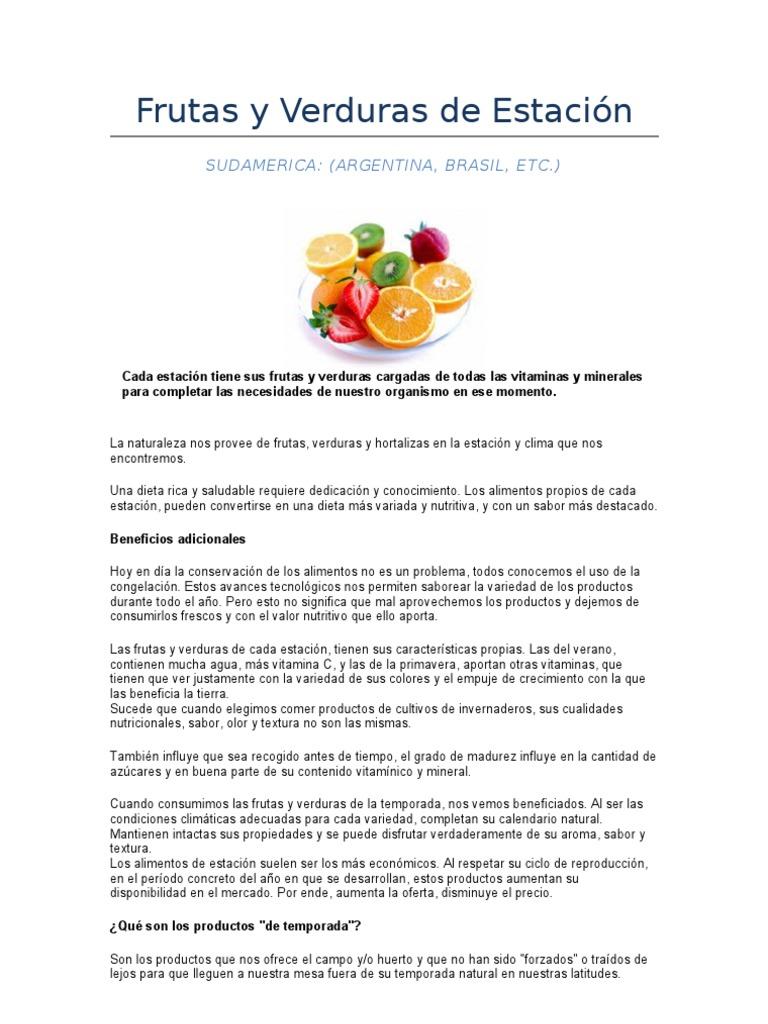 frutas y verduras de primavera en uruguay
