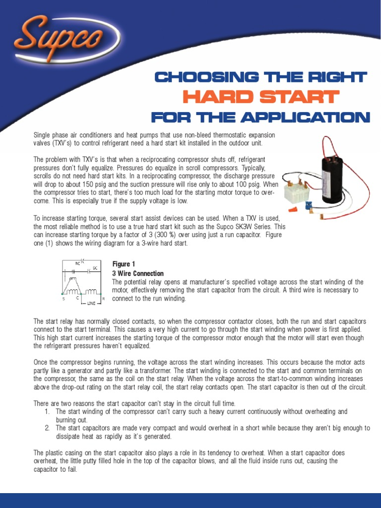 Supco Hard Start Kits Applications Relay Series And Parallel Potential Wiring Diagram Circuits