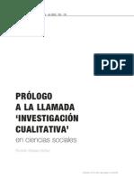 PRÓLOGO A LA LLAMADA 'INVESTIGACIÓN CUALITATIVA' en ciencias sociales. Rodolfo Masías Núñez