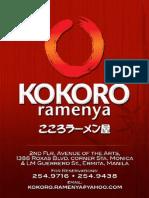 Kokoro Ramenya Menu