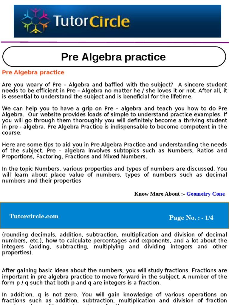 Pre Algebra Practice   Fraction (Mathematics)   Multiplication