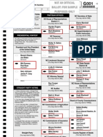 Sample Burke County NC Ballot For those in NC House of Representatives District 86