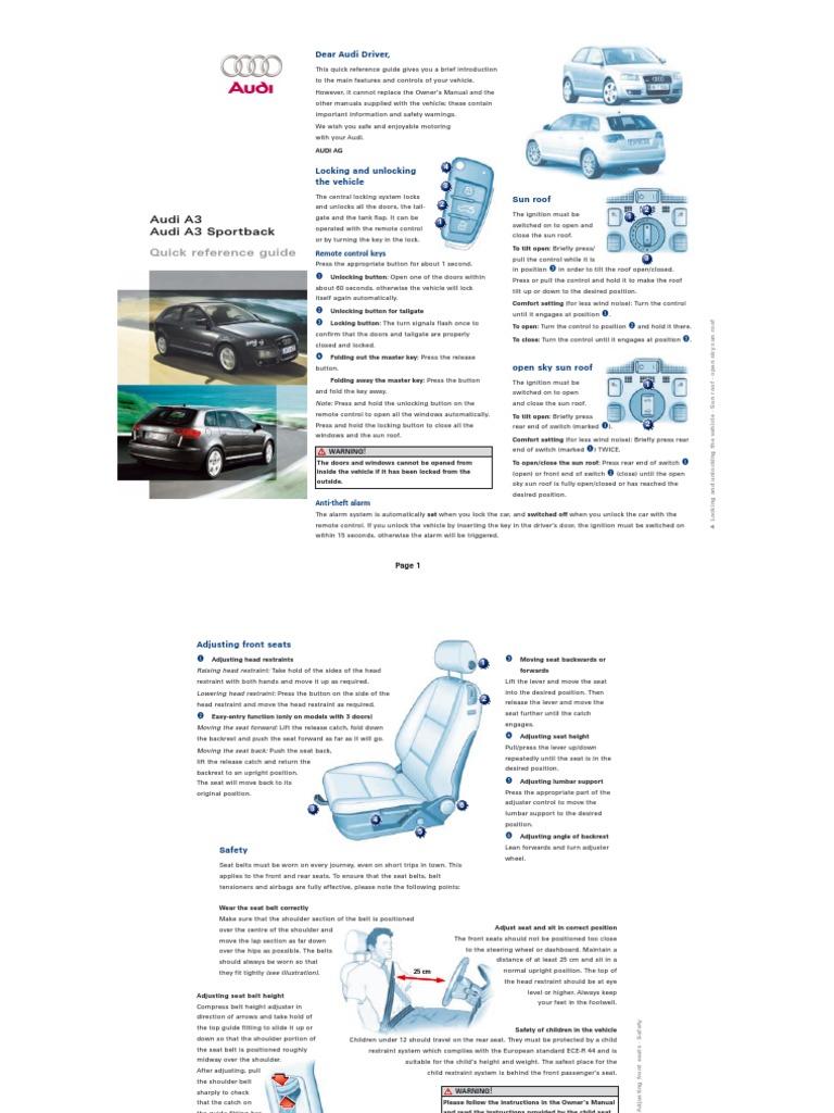 Audi A3 Handbook Owners Manual Pdf