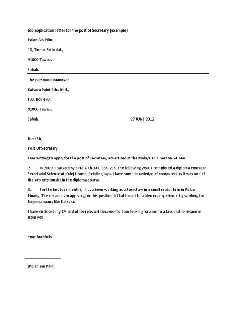 Job application letter for the post of secretary altavistaventures Image collections