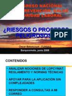Charla Riesgos o Procesos Peligrosos, Oscar Betancourt