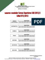 Gabarito.vestibular Cursos Superiores Uab 2012_2 Edital 074