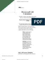 Lift System Calculator for Hovercraft