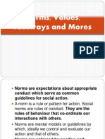 Norms, Values, Folkways and Mores