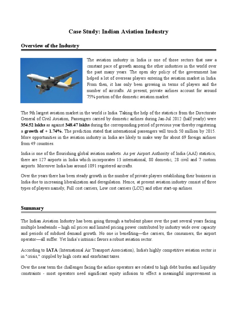 A Case Study on Indian Aviation Industry   Airlines   Low